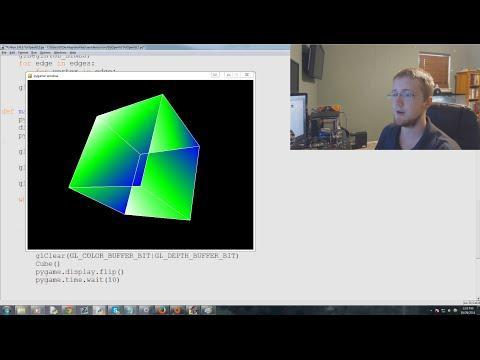 Введение в OpenGL и PyOpenGL. Часть II: раскрашивание поверхностей вращающегося куба