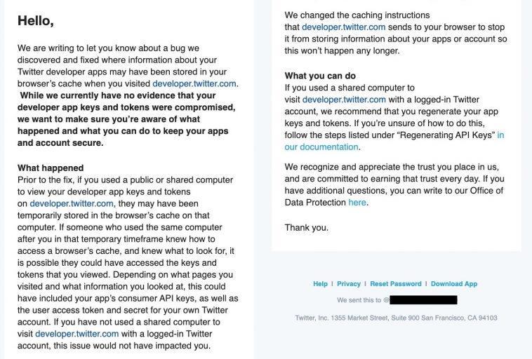Twitter предупреждает разработчиков о возможной утечке ключей API и токенов