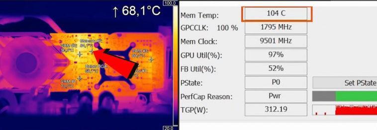 Внутри чипов памяти GDDR6X на GeForce RTX 3080 температура превышает 100 градусов