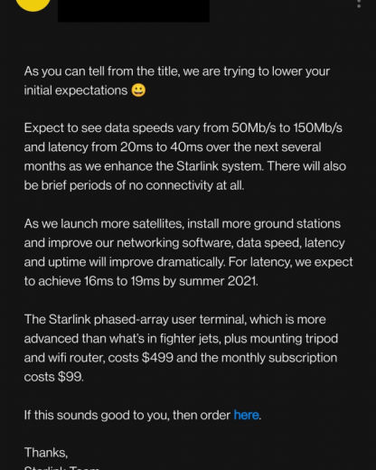 Бета-тест Starlink стоит $99 в месяц, подключение — $499. SpaceX просит умерить ожидания по качеcтву и скорости