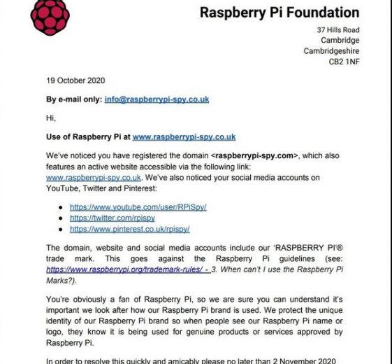 Raspberry Pi Spy пожаловался на преследование со стороны Raspberry Pi из-за схожего названия. Претензию отозвали
