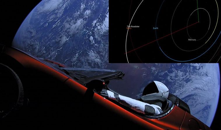 Tesla Roadster Илона Маска пролетела на расстоянии 0,05 а.е. мимо Марса
