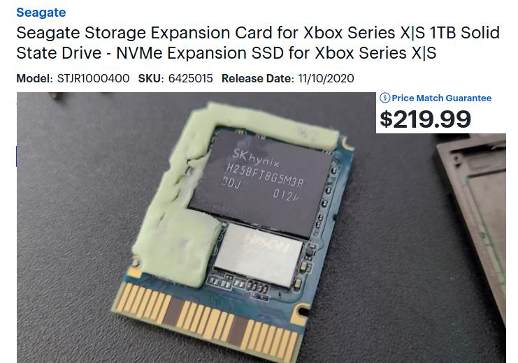 Внутренности проприетарной карты расширения накопителя Xbox Series X: флэш-память SK Hynix