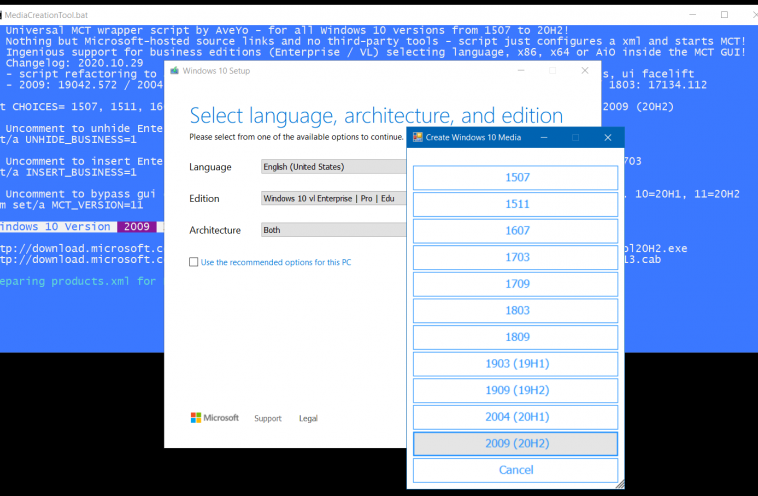 Создана обертка для Media Creation Tool, с ней можно выбрать нужную для установки версию ОС Windows 10 от 1507 до 20H2