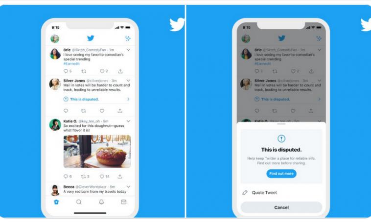 Twitter будет предупреждать перед ретвитом сообщения с пометкой о дезинформации