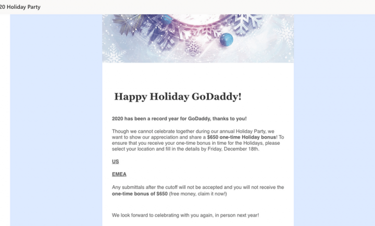 GoDaddy раскритиковали за маскировку фишинг-теста под сообщения о новогодней премии