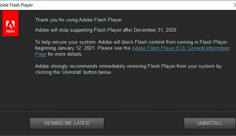 Adobe начала показывать предупреждения об удалении Flash Player в Windows 10