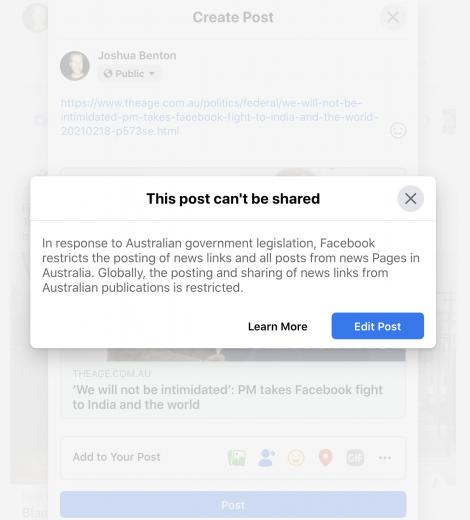 Трафик сайтов в Австралии падает после запрета расшаривать ссылки в Facebook