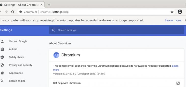 В версии 89 из Chrome исчезнет поддержка x86 процессоров без SSE3