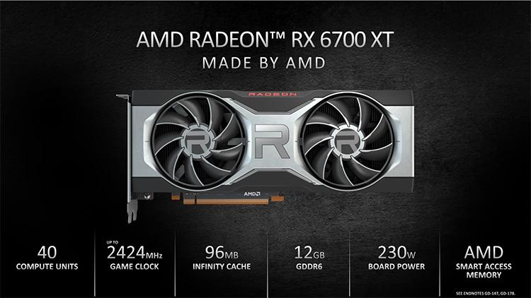AMD представила видеокарту Radeon RX 6700 XT для игр в 1440p
