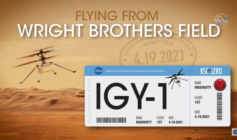 НАСА опубликовало видео первого полета марсианского вертолета «Индженьюити», сделанное марсоходом
