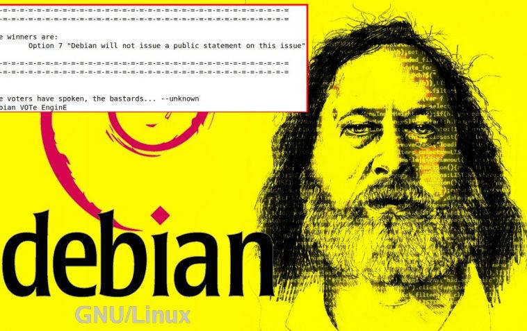 Проект Debian выбрал нейтральную позицию по итогам голосования по поводу отношения к Столлману