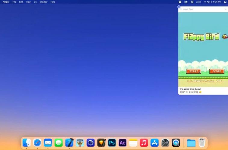 Разработчик запустил игру Flappy Bird в интерактивном уведомлении для macOS