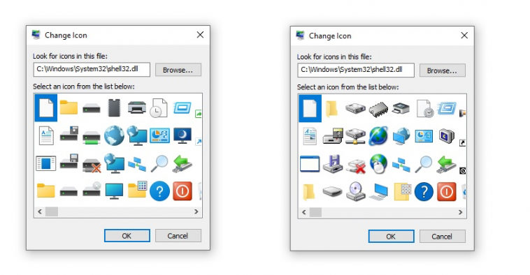 Microsoft заменила иконки эпохи Windows 95 из shell32.dll