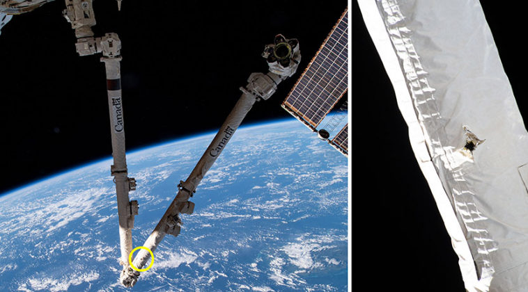 В Canadarm2 попала частичка космического мусора, но манипулятор МКС сохраняет функциональность