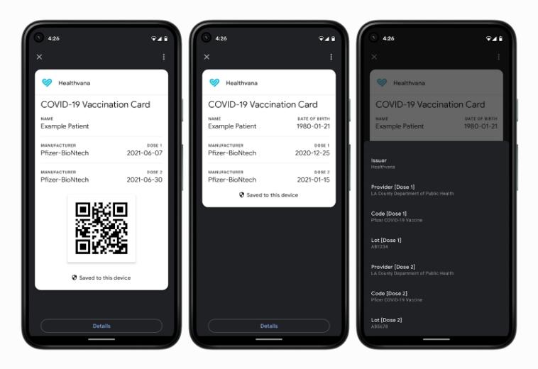 Google завела на Android прививочные карточки с QR-кодами